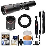 Vivitar 500mm f/8.0 Telephoto Lens (T Mount) & 2X Teleconverter (=1000mm) + 3 Color Flash Diffusers + Monopod Kit for Nikon Digital SLR Cameras