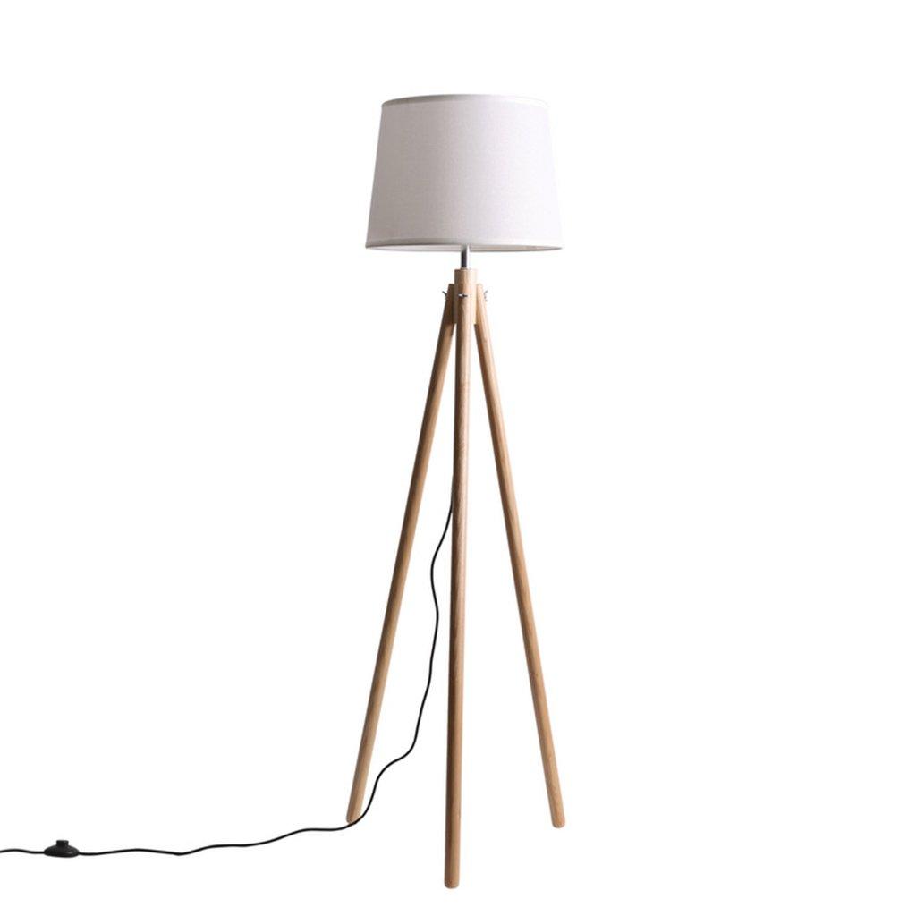 GUORONG Stehlampe, Moderne minimalistische Wohnzimmer Stehlampe Nordic Massivholz Studie Lampen American Stoff Stativ Sofa Beleuchtung hohe 160cm Einstellbare Höhe abnehmbar Mit Schalter Stehlam