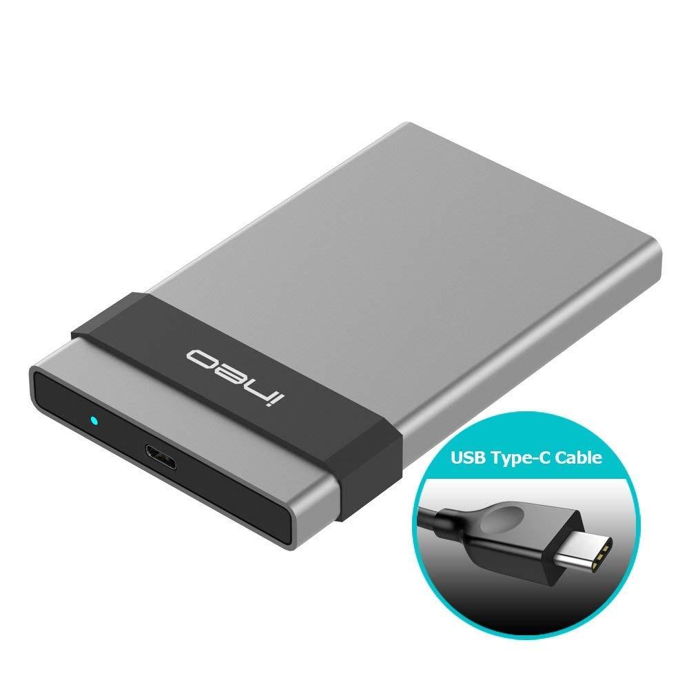 ineo C2561c - Carcasa de Disco Duro Externo de Aluminio para SATA HDD SSD de 2,5 Pulgadas (9,5 mm y 7 mm, USB C 3.1 Gen 2, Tipo C (10 Gbps)