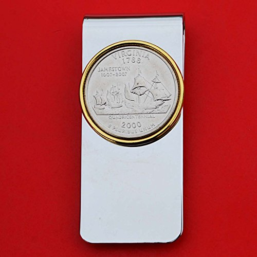 (US 2000 Virginia State Quarter BU Uncirculated Coin Solid Brass Gold Silver Two Tone Money Clip New - High Quality)