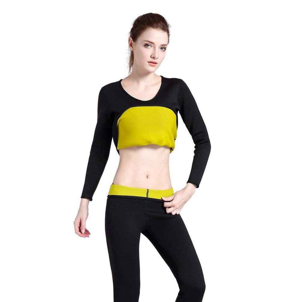 À Manches Longues en néoprène Chaud Sweat Body Shaper Femme Chemise  vêtements de Sport Tops Minceur en Cours d exécution Gym Training Fitness  Sportswear  ... 77f4e7c6461