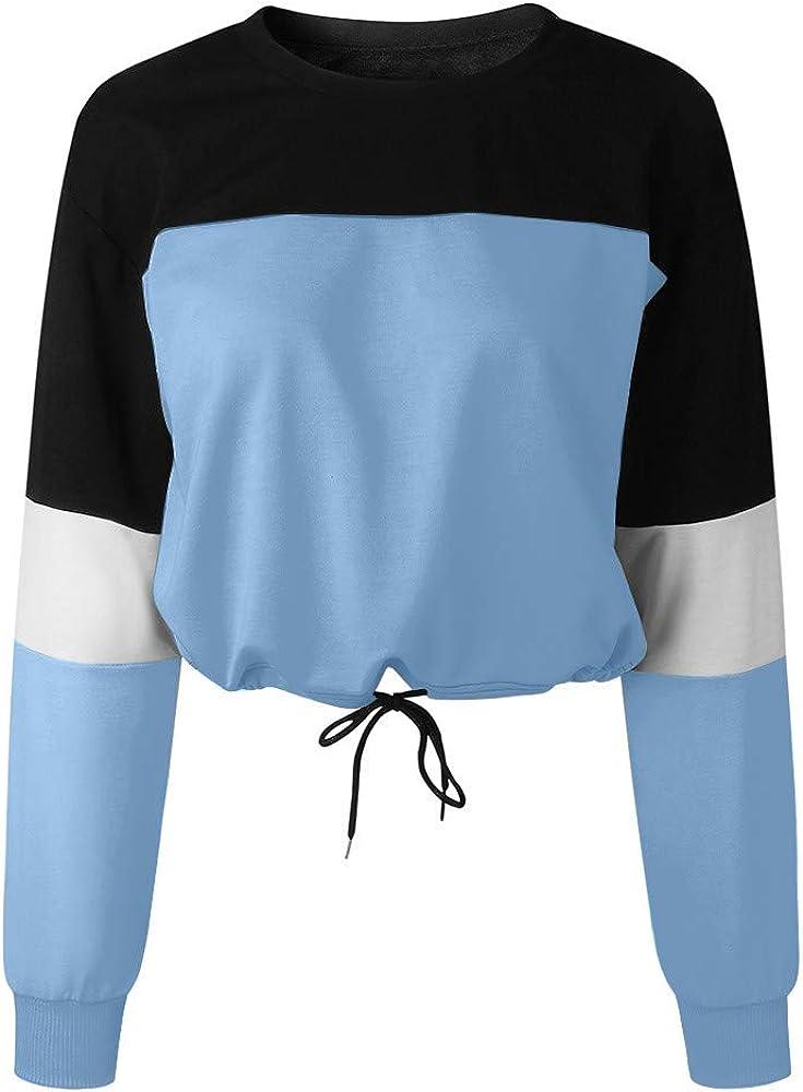 Subfamily Kapuzenpullover Damen Einfacher Stil Womens Long Sleeve Splicing Farbe Sweatshirt Pullover Tops Bluse Colorblock Langarm Kordelzug Sweatshirt Kurzer
