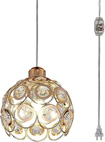 Kiven Plug-in Crystal Pendant Lamp Hollow Golden Shade Light Fixtures Mini Classic Chandelier with UL Listed On Off Dimmer Switch Cord Bulb Not Included