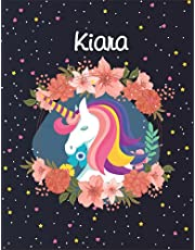 Kiara: Unicorn Blank Lined Journal Notebook For Girls | Primary Story Journal , 8,5 x 11 , 120 Pages Cute Unicorn Notebooks | Grades K-2 Composition School Exercise Book
