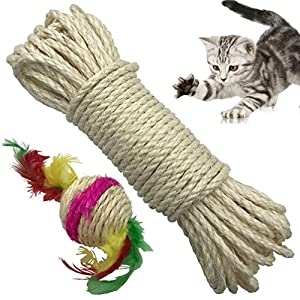 Yangbaga Cat Natural Sisal Rope for Scratching Post Tree Replacement, Hemp Rope for Repairing, Recovering or DIY Scratcher, 6mm Diameter, Come with a Sisal Ball 25