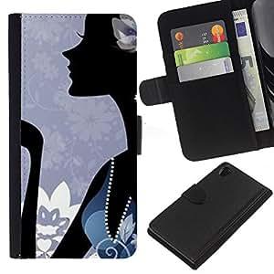A-type (Minimalist Abstract Blue Fashion) Colorida Impresión Funda Cuero Monedero Caja Bolsa Cubierta Caja Piel Card Slots Para Sony Xperia Z2 D6502