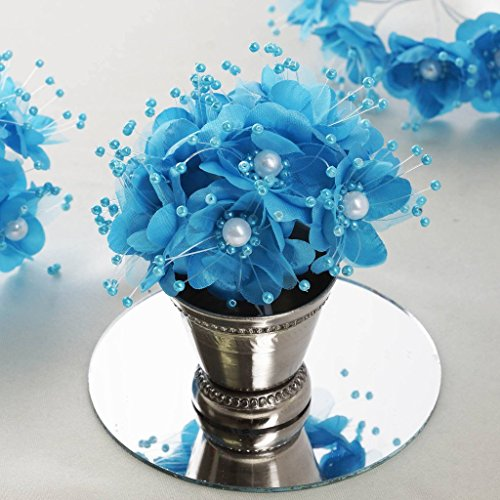 BalsaCircle 72 Turquoise Faux Pearl Craft Beaded Flowers - Mini Flowers for DIY Wedding Birthday Party Favors Decorations Supplies