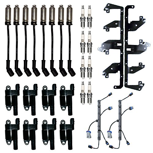 8 ADP Ignition Coils + 8 Champion Spark Plugs + 2 Herko Bracket and Harness + 8 Herlux Spark Plug Wires with Heat Shield