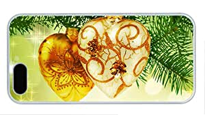 Fashion customized iphone 5 covers Gold heart shaped Christmas ornament PC White for Apple iPhone 5/5S