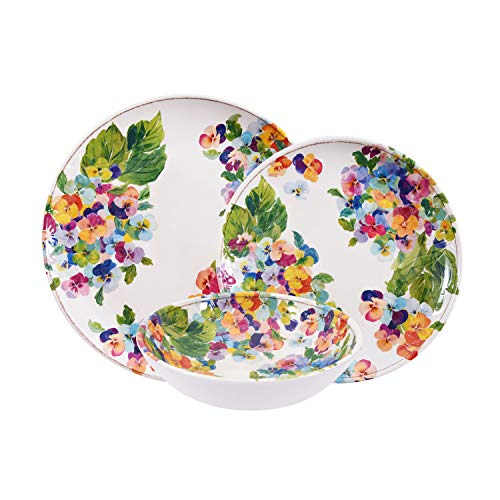 First Design Global DNS0419 Decorative Floral Hydrangea 12 Piece Melamine Dinnerware, Unique Dish Set for Parties or Everyday Use, Service for 4 (Dinnerware Floral Purple)