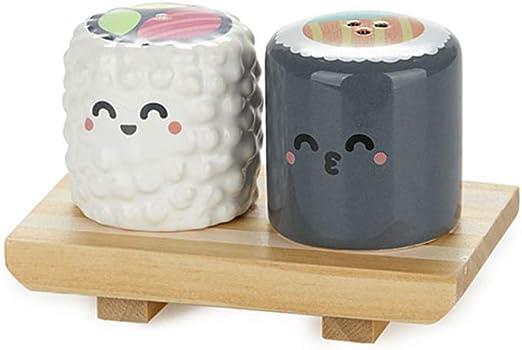 Balvi Set Sal & Pimienta MrWonderful Sushi con Base de Madera Comida Japonesa Cerámica/Madera: Amazon.es: Hogar