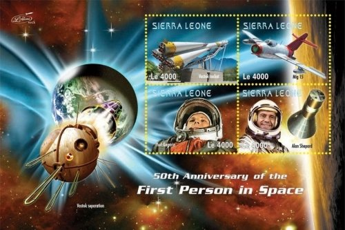 (Space - 50th Anniversary of The First Person in Space - Rocket Ship - Collectors Stamp - Sierra Leon)