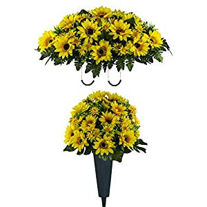 Sympathy Silks Artificial Cemetery Flowers - Realistic Vibrant Sunflowers Outdoor Grave Decorations - Non-Bleed Colors, and Easy Fit - One Yellow Sunflower Bouquet and One Yellow Sunflower Saddle 44