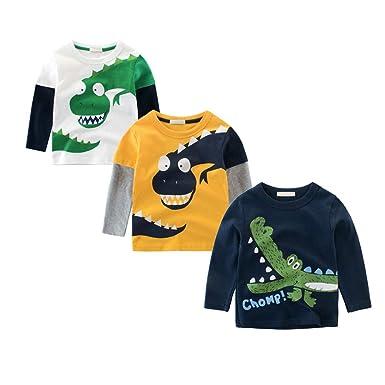 0597329cb413a BOBORA T-Shirt Garçon, Pull-Over T-Shirts à Manches Longues Dinosaures