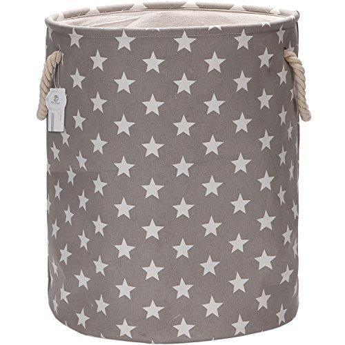 Sea Team 19.7'' Large Size Stylish Star Design Canvas & Linen Fabric Laundry Hamper Storage Basket with Rope Handles, Grey