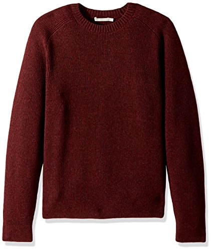 Vince Men's Raglan Sleeve Ribbed Crew Neck Sweater, Heather Burgundy, ()