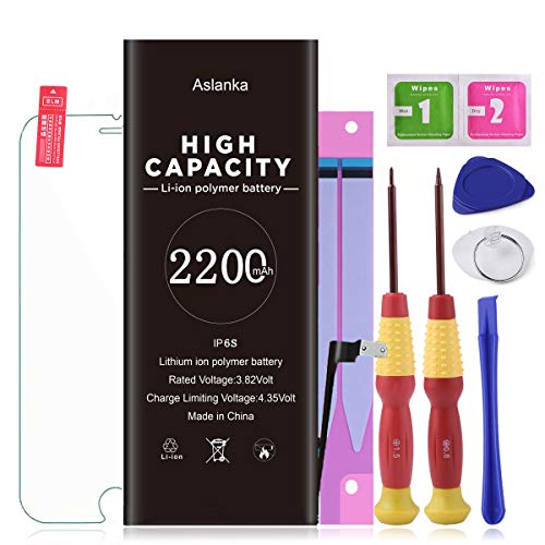 Aslanka Battery for iPhone 6s, New 2200mAh High Capacity Battery Replacement with Repair Tools, Included Installation Manual and Screen Protector-[2 Year Warranty]