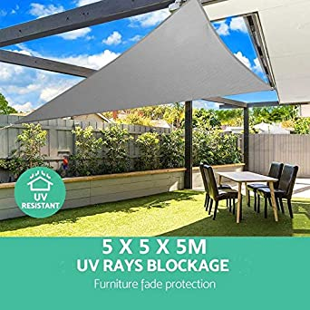 5m Triangle Shade Sail Net Cloth Outdoor Swimming Pool ...