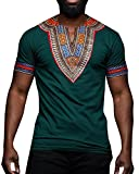 Gtealife Men's African Print Dashiki T-Shirt Tops Blouse (Z-Green, M)