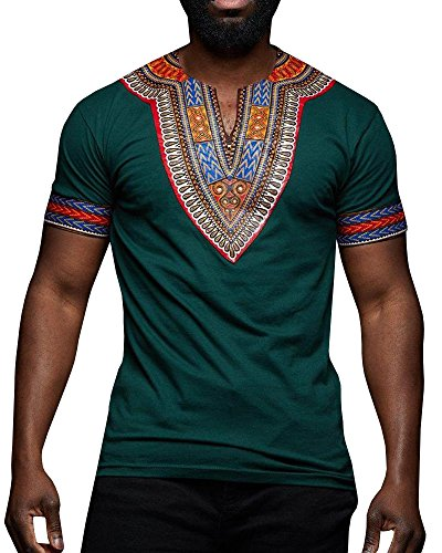 Makkrom Mens African Tribal Dashiki Floral Short Sleeve T Shirt Blouse Tops (X-Large, ()