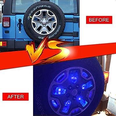 FIREBUG Jeep 3rd Brake Light LED, Jeep Spare Tire Brake Light, 25 LED Jeep Brake Light, Jeep Accessories Lights for Spare Tire, Jeep Wrangler Spare Tire Brake Light JK JKU 2007-2020 Blue: Automotive