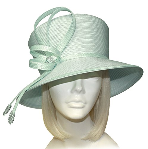 200c73e2f8fa2 Mr. Song Millinery Tagline Straw Medium Brim Hat with Knot Rhinestones -  ST227 Aqua Blue
