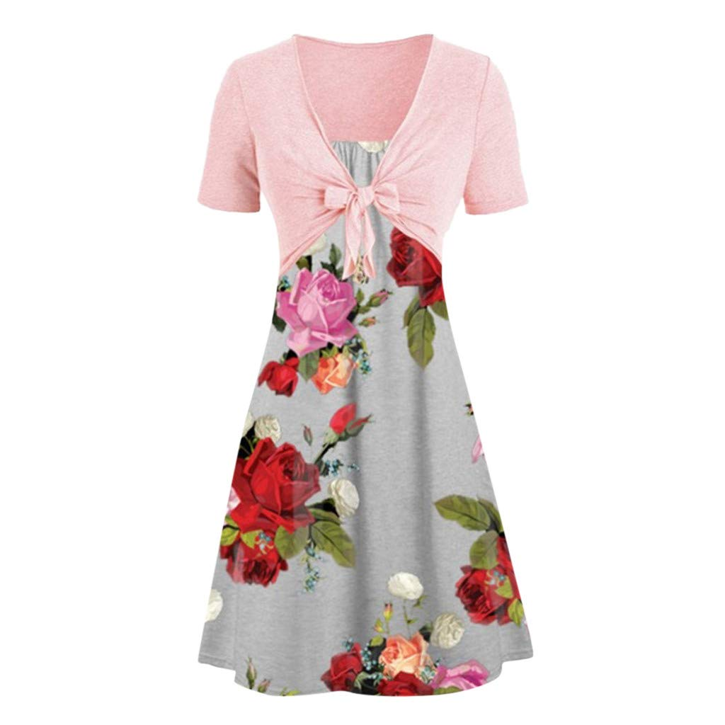TOTOD New Dress Suits Women Casual Solid Bow Knot Shawl Coat Strap Flower Print Dress Two Piece Sets(Gray,XL)