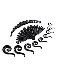 54 Pieces Gauges Kit Black Spiral Hanger Tapers and Plugs 14G-00G Stretching Kit - 27 Pairs