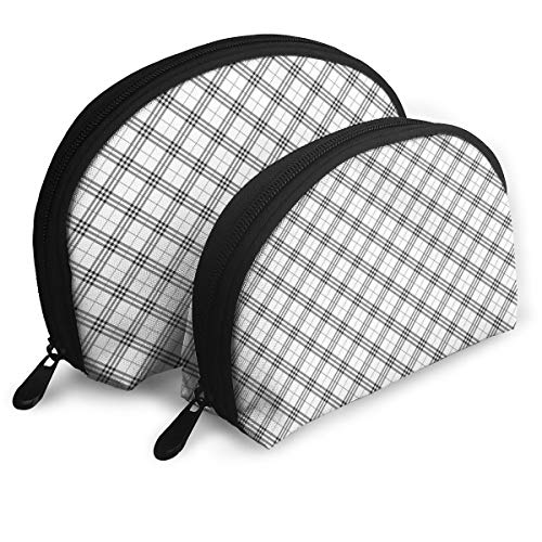 Shell Shape Makeup Bag Set Portable Purse Travel Cosmetic Pouch,Monochromatic Diagonal Pattern With Checks And Stripes Dashed Lines Celtic Classic,Women Toiletry Clutch ()
