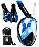 SNORKELSTAR [4-Piece Set] Snorkel Set - Snorkeling Gear - Snorkel Mask Full Face - Snorkeling Set (Mask L/XL Fins M (US 7-10))