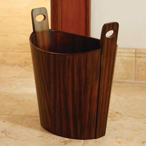 Global Views Elegant Striped Zebra Wood Basket w Handles | Wastebasket Carrier Caddy Bucket