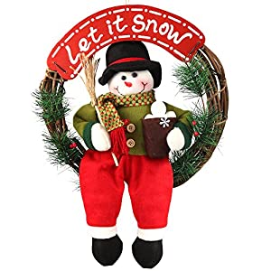 d fantix snowman christmas wreath 14 inch grapevine wreath small front door wreaths holiday christmas decorations - Small Christmas Wreaths