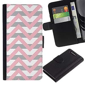 For Sony Xperia Z1 Compact D5503 Case , Pink Beige White Lines Pattern - la tarjeta de Crédito Slots PU Funda de cuero Monedero caso cubierta de piel