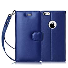 iPhone 6S Case, iPhone 6 Case, FYY [Top-Notch Series] Genuine Leather Wallet Case Protective Cover for Apple iPhone 6S/6 (4.7 inch) Navy Blue