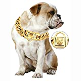 MUJING 32 mm Wide Hip Hop Gold Tone Cut Curb Cuban Link 316L Stainless Steel Dog Choke Chain Collar 45-75CM,F