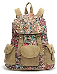 Black Butterfly womens Canvas Back Pack National Wind School Bag Leisure Travel Bag