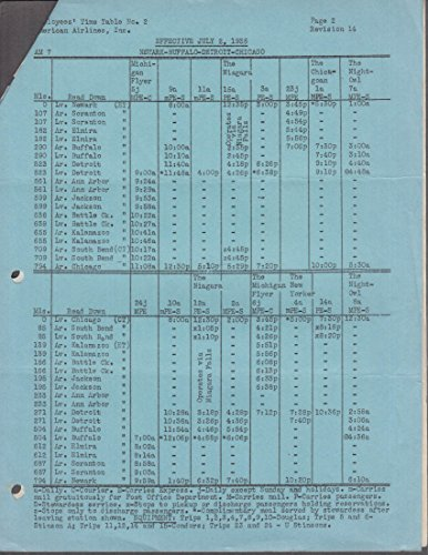 American Airlines Employees Time Table #2 Newark-Buffalo-Detroit Chicago 1935