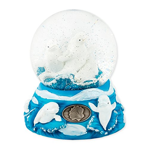 Beluga Whale Collectibles - 100mm Resin Glitter Water Globe Plays Tune Let Me Call You Sweetheart