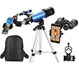 MaxUSee Travel Scope - 70mm Refractor Telescope & 10X50 Full-size Binoculars for Kids Adults Astronomy Beginners for Moon & Stars Viewing Bird Watching Sightseeing - With Backpack & Smartphone Adapter