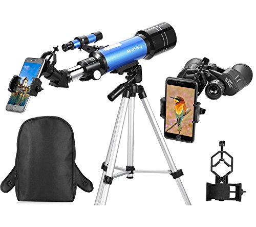 MaxUSee Travel Scope - 70mm Refractor Telescope & 10X50 Full-size Binoculars for Kids Adults Astronomy Beginners for Moon & Stars Viewing Bird Watching Sightseeing - With Backpack & Smartphone Adapter by MaxUSee