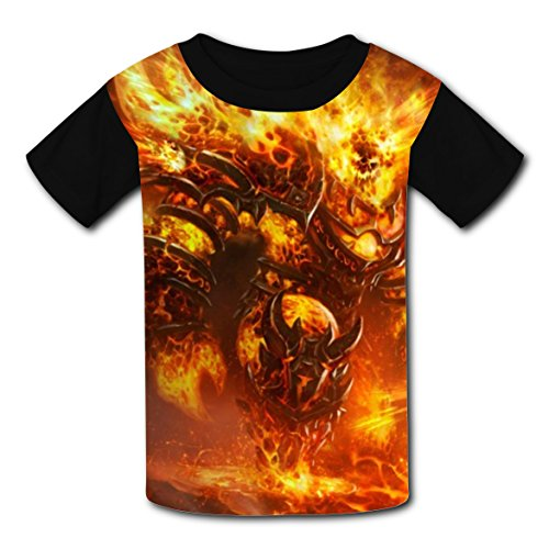 Firelord Ragnaros Kids Tie-Dye T-shirts Tee Shirts Short Sleeve For Kids Black (Wow Halloween Event 2017)