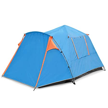 SESAME STAR Double Doors Automatic Tent with Snow Skirt for 3-4 Person Pop Up Waterproof Tent for Family Camping,Fishing
