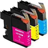 HI-VISION® Compatible Ink Cartridge Replacement for Brother Super High Yield LC105 XXL (Cyan,Yellow,Magenta, 3-Pack) for MFC-J4310DW,J4410DW,J4510DW,J4610DW,J4710DW,J6520DW,J6720DW,J6920DW