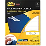Post-it® Super Sticky Removable File Folder Labels, 0.66 x 3.437 Inches, White, 1500 per Pack (2100-F)