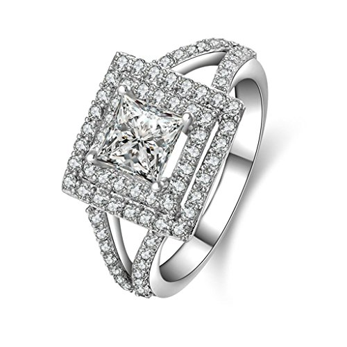 (Free Engraving)Adisaer Silver Rings for Women Wedding Bands Square Cubic Zirconia Size 5