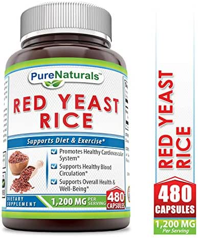 Pure Naturals Red Yeast Rice Dietary Supplement -1200 mgof Best Quality Red Yeast Rice PowderPerServing–Supports Cardiovascular Health- 480Capsules Per Bottle