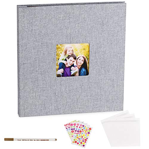 VACNITE Photo Album Self Adhesive,Scrapbook Album for Wedding/Family, Linen Cover DIY Gift Magnetic Photo Book with 40 Sticky Pages Holds 8X10, 6X8, 5X7, 4X6