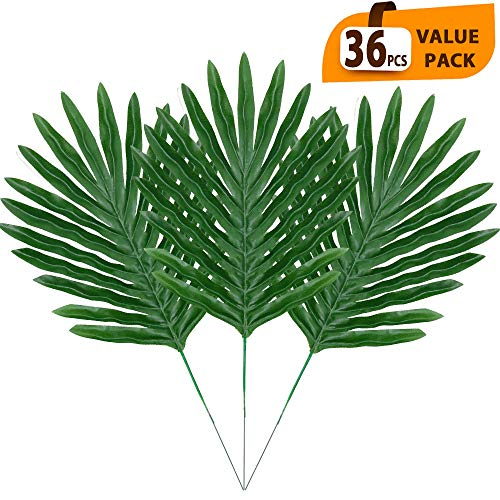 ElaDeco 36 Pcs Artificial Tropical Palm Leaves with Stems Luau Party Decoration Faux Palm Leaves Safari Leaves for Hawaiian Luau Party Jungle Beach Birthday Theme Decorations]()