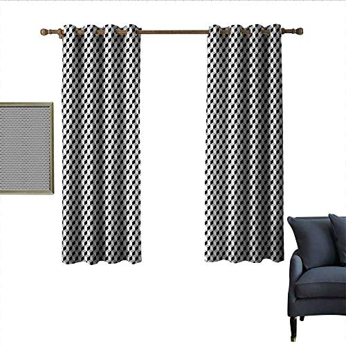 longbuyer Black and Grey Thermal Curtains Geometric Squares Stacked Cubes in 3D Style Contemporary Design Wear Rod 55
