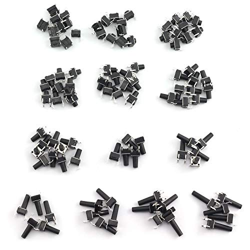 Tegg 100PCS 6x6mm 13 Types Momentary Push Button Micro Tactile Tact Switch with 4 Pins